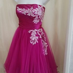 NWT Strapless prom Fuchsia dress